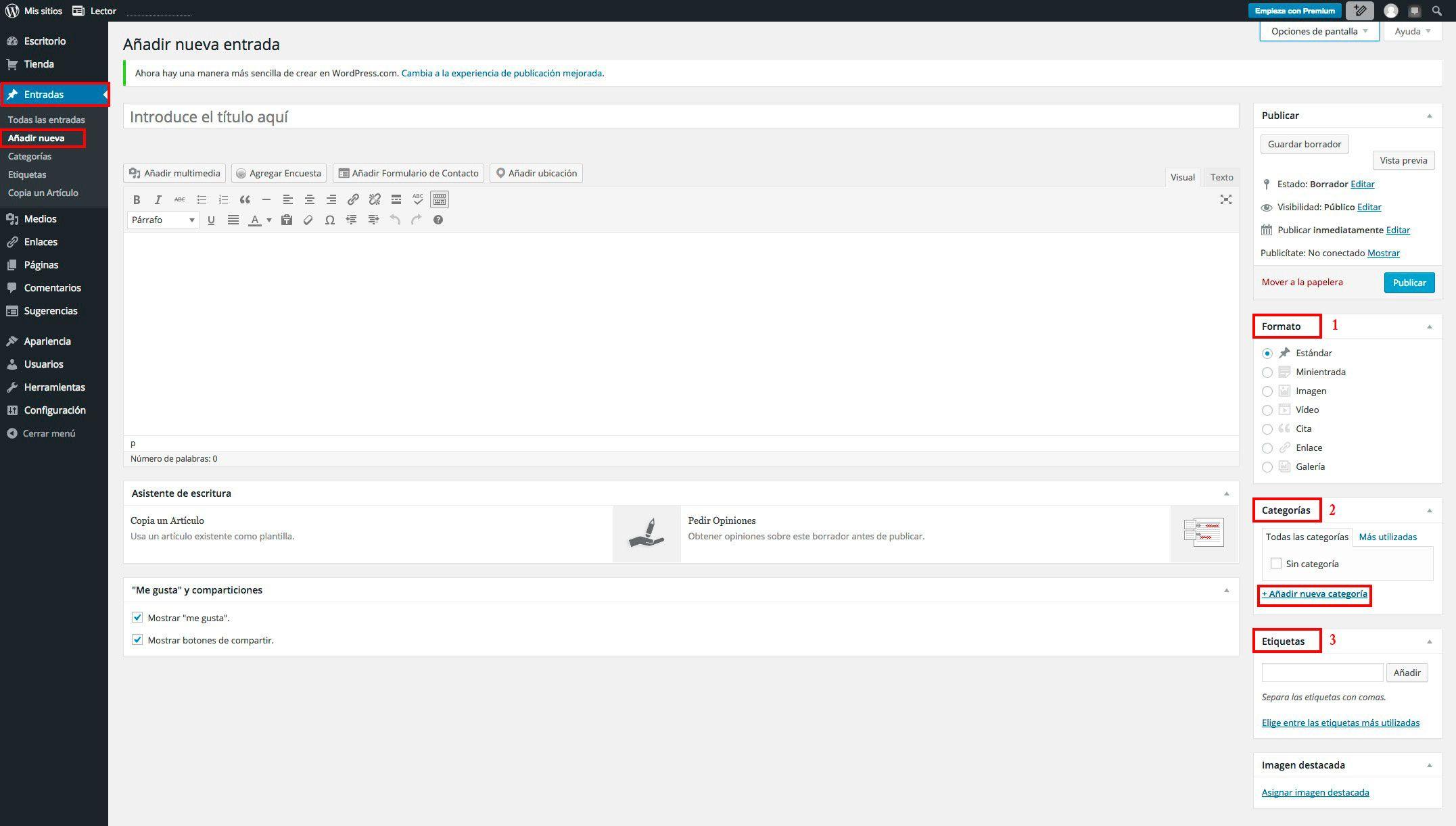 ¿Cómo crear entradas en WordPress.com?