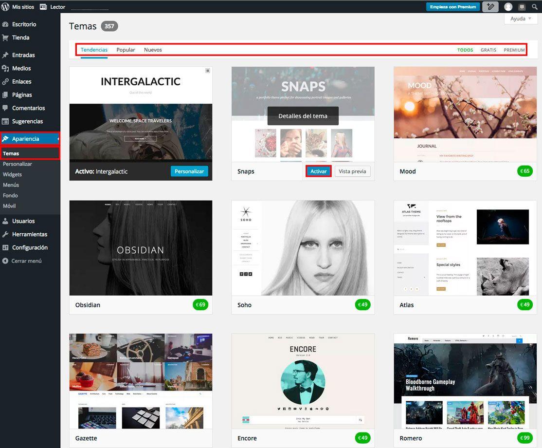 ¿Cómo activar un tema de WordPress.com?
