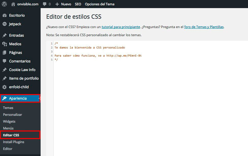 modificar la plantilla de wordpress
